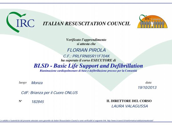 Attestato BLSD: Basic Life Support and Defibrillation. 19/10/2013 Monza